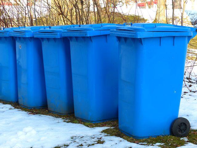 blue garbage bins